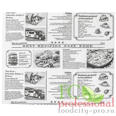 Оберточная бумага     ДхШ 320х250 мм жиростойкая с печатью NEWSPAPER для гамбургера   1/1000/7000