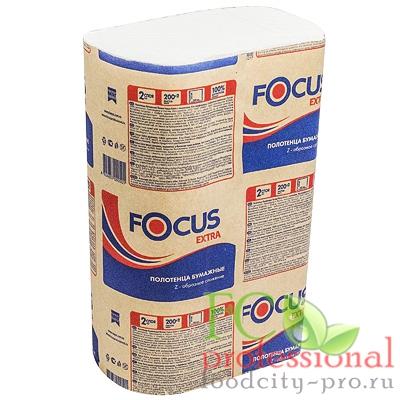 Бумажное листовое полотенце     225х240 мм 2-сл 200 лист/уп Z-сложения FOCUS EXTRA БЕЛОЕ   ''HAYAT''