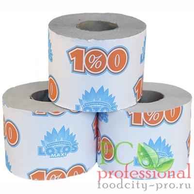 Туалетная бумага     1-сл 1 рул/уп 100 м стандарт LOTOS MAXI СЕРАЯ   1/24