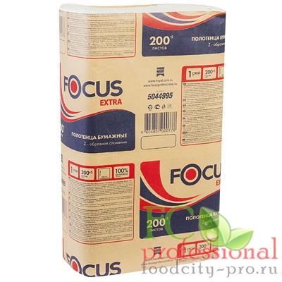 Бумажное листовое полотенце     215х240 мм 1-сл 200 лист/уп Z-сложения FOCUS EXTRA БЕЛОЕ   ''HAYAT''
